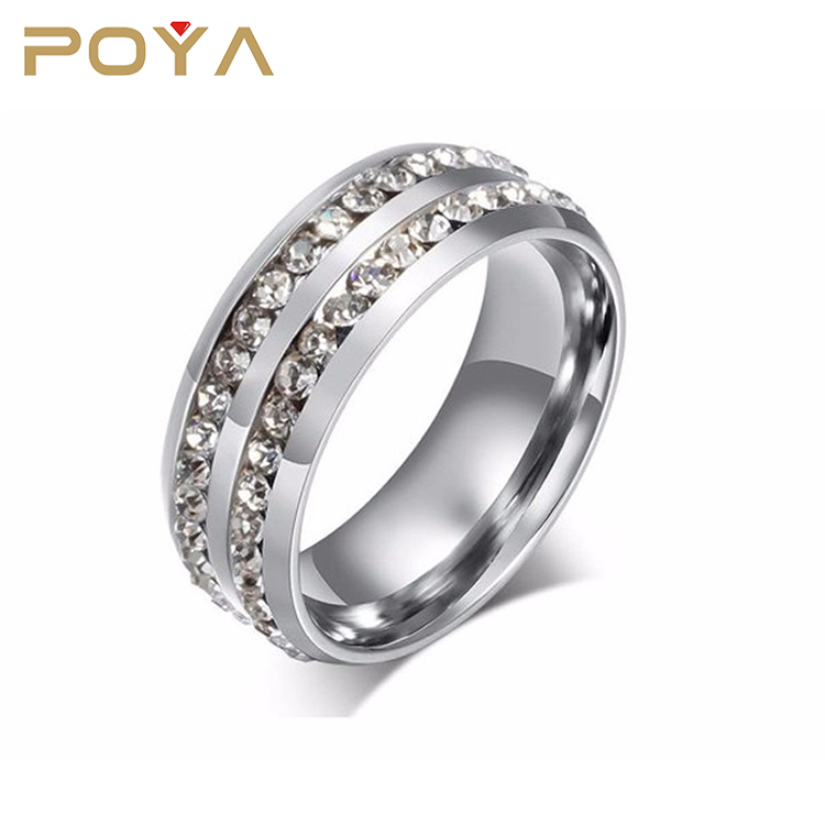 POYA Jewelry 8mm Silver Double Crystal Diamond Plated Mens Titanium Steel Engagement Rings Classic Inlay Diamond Rings