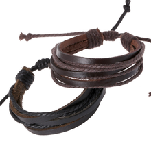 Promotional cheap retro multi-layer leather hemp rope cow leather bracelet