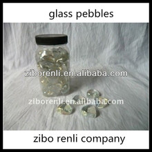 Fish Tank Canned Pretty Heart Shaped Polished White Glass Pebbles