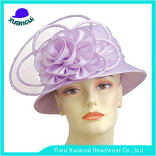 2017 New Design Spring Sinamay Fabric plain church hats for party and wedding