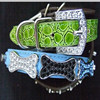 Wholesale Rhinestone Dog Bone Slide Charms Decorated DIY Matte PU Leather Dog Collars, Green Crocodile Pet Necklets