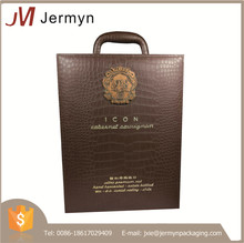 Hot sale luxury portable high quality custom leather wine carry case