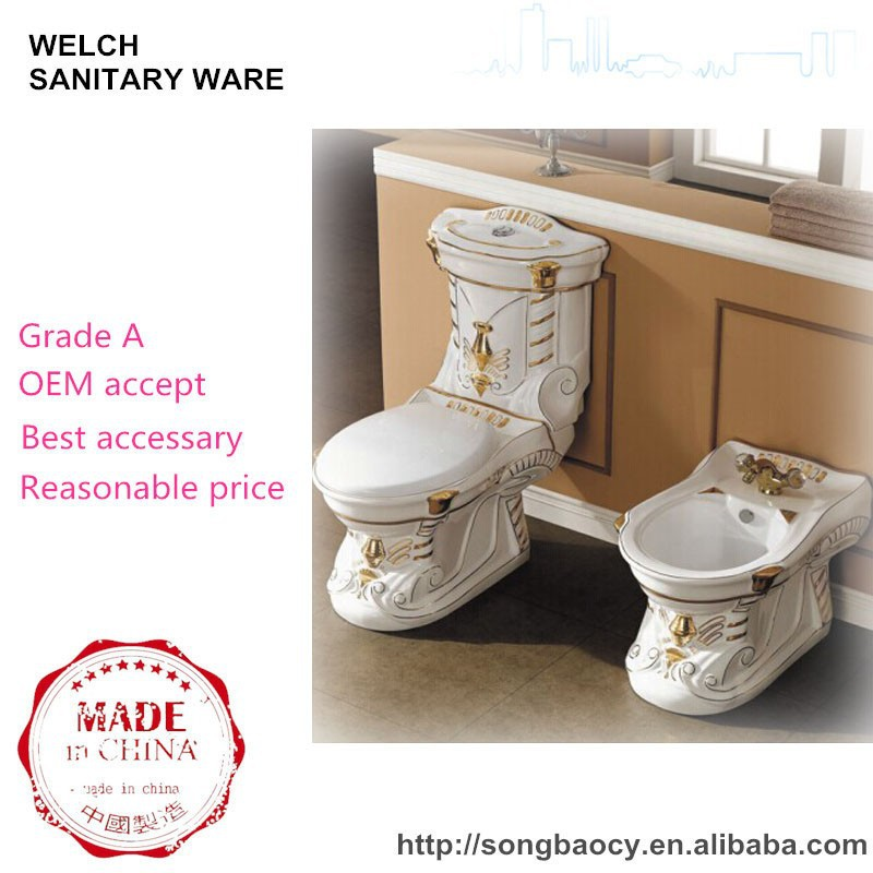 001 electroplating golden color two piece washdown coupled water toilet closet