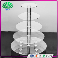 Wholesale round acrylic custom printed cosmetic counter display stands makeup showcase