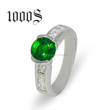 Fashion Silver Ring Deep Green Stone Clear CZ Indian Emerald Rings