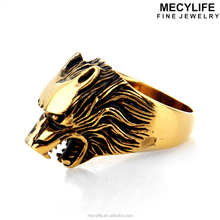 MECYLIFE Spike animal skull titanium steel finger ring 18k gold Wolf Ring