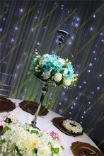 Tall metal flower stand with glass candle holder for Wedding table centerpiece decoration