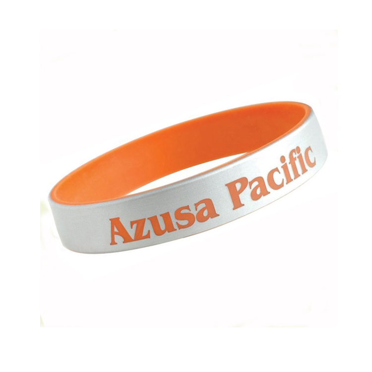 Azusa Pacific White Printed Double Sided Silicone Wristband