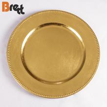 2018 free sample wholesale dinner 13&quot; Gold plastic beaded charger <strong>plate</strong>