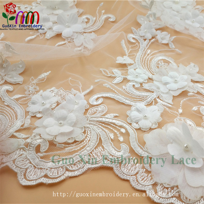 2018 Latest 3D handmade flowers embroidery beaded 3d rose lace fabric