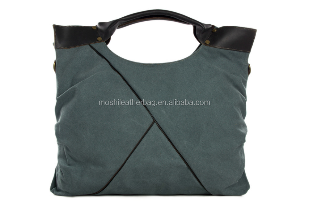 Leather Waxed Canvas Tote Bag
