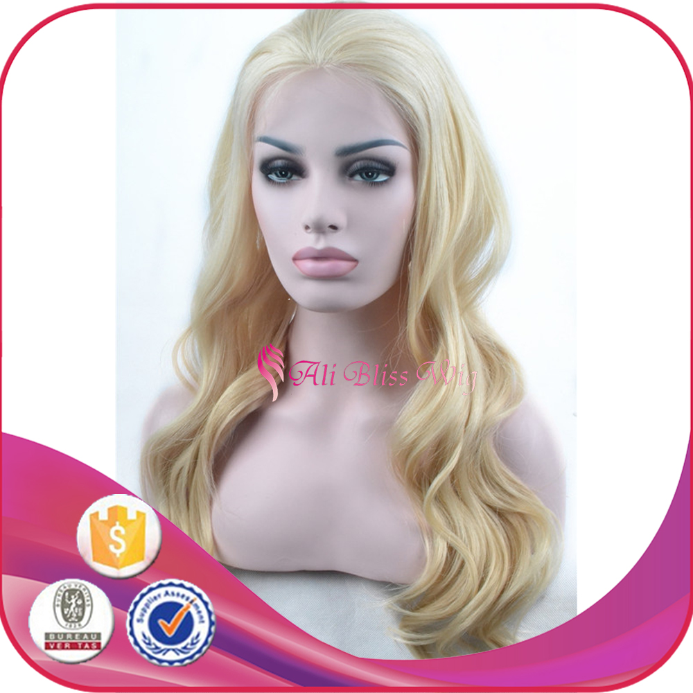 Extra long Golden Blond Natural Body Wave Silk Base Lace Front hair wigs and patches
