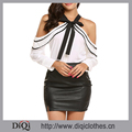 Newest Fashion Women Patchwork Pattern Button White Bow Tie Cold Shoulder Long Sleeve Halter Neck Ruffle Chiffon Blouses