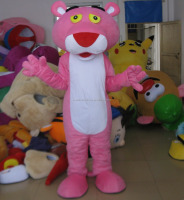 adult animal plush pink colour panther mascot costume