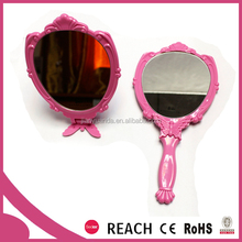 ladies compact plastic frame foldable hand held cosmetic mirror