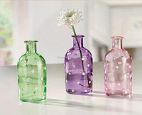Colored glass flower vases
