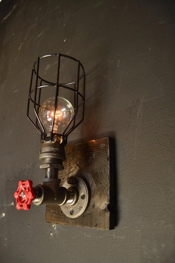 15 steampunk luminaire bois applique murale industrielle lampe ancienne home decor. Black Bedroom Furniture Sets. Home Design Ideas