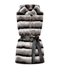 YR758 Long Rex Gilet with Hood Genuine Rex rabbit Chinchilla Dyed Fur Vest