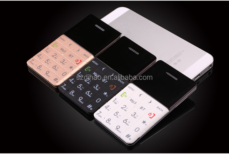 DIHAO Ultra Slim Super Thin Q5 0.96 inch Mini Cell Phone 2G GSM Credit Card Mobile Phone
