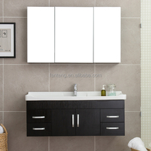 2018 Modern veneer mirror cabinet and ceramic bath basin wall hung bath set cabinet furniture