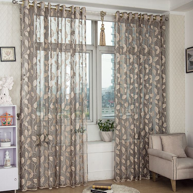 1-Piece Leaves Luury Sheer Curtain For Living Room Tulle Window Curtain For Bedroom Drapes With Eyelets Punching Customizable