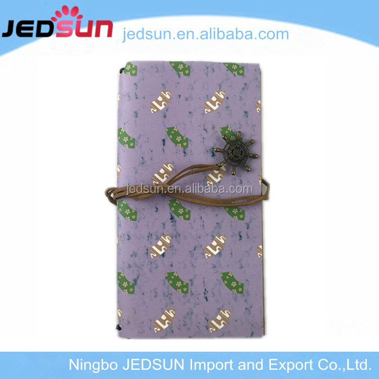 Custom shape A4 A5 A6 sizes handmade retro soft leather cover joy notebook with front and back pocket for travel