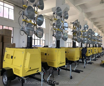 6*1000W or 4*1500W MH trailer mobile light tower generator 13Kva/KW Telescopic Vertical Hydraulic D1703-BG diesel engine