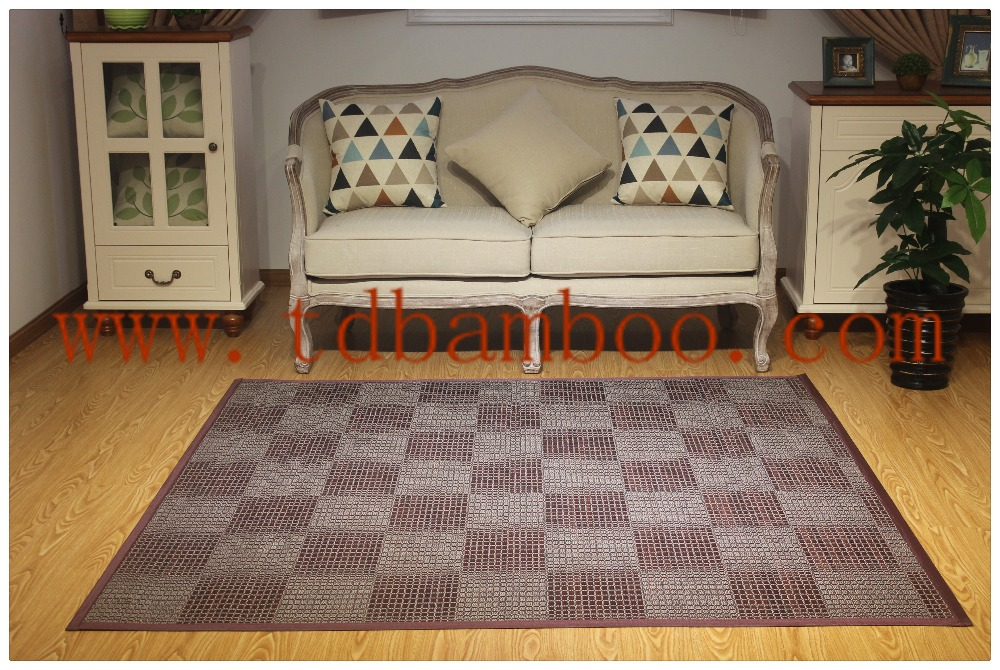 American style dark red grid bamboo carpet for home