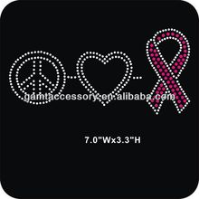 PEACE LOVE PINK BREAST CANCER RIBBON hotfix rhinestone iron on transfer designs for clothing