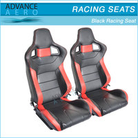 FOR MERCEDES BENZ CARBON FIBER LOOK BLACK CAR SEATS RED PVC LEATHER RECLINABLE BUCKET SLIDER(PAIR)