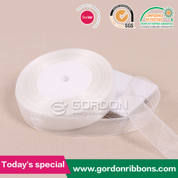 organic trimming/organza decoration/white organza ribbon for girl dresses