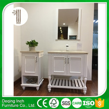 thin white floor standing bathroom vanity with vessel ceramic sink