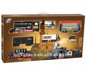 B/o slot toy smoking railcar with light and music