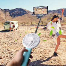 Portable Selfie Stick with Fan, Mini USB Handheld Fan Selfie Sticker