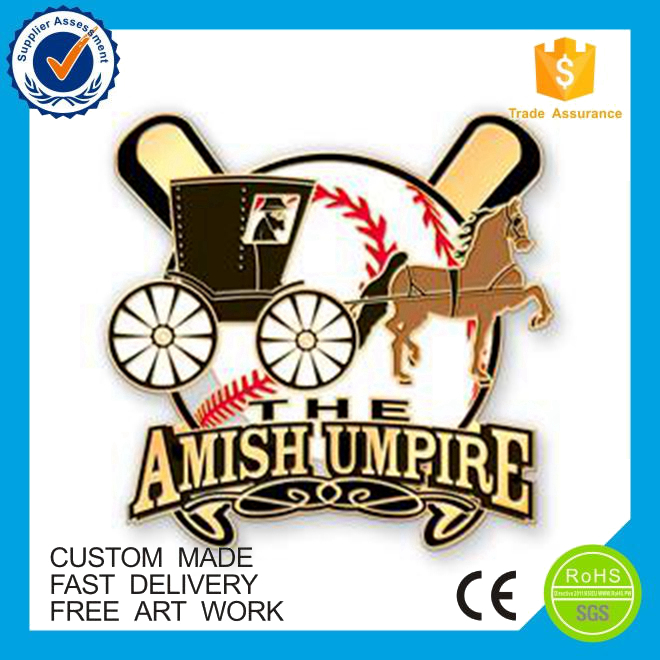 Made in china cheap custom amish umpire soft enamel metal pin