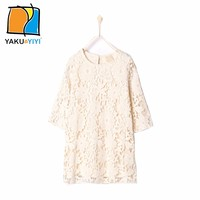 YAKUYIYI Girls Solid Nude Lace princess Dress Cut Out Crew Neck Three Quarter Sleeve Cute Kids Dress Vestidos for wholesale