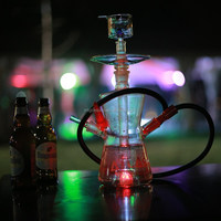 New Design Portable Heat-resistant Glass Shisha Glass Narghile with Colorful LED OEM ODM Hookah 588