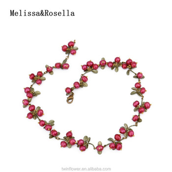 Melissa&Rosella Fashion Jewelry Cranberry Branch Charm Pendant Necklace Jewelry Female Necklace