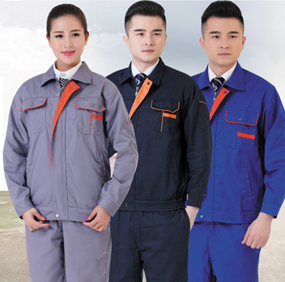 Winter mens long sleeve blue engineering uniform polyester cotton fabric mining safety wear factory workshop overalls uniforms
