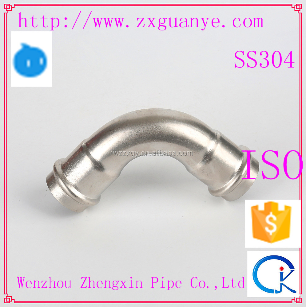 JIS Stainless Steel Sanitary Pipe Fitting 90 Degree Elbow Support
