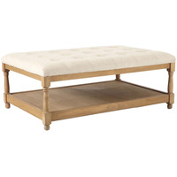 Oval Square Shape Wooden Fabric Tufted Coffee Table