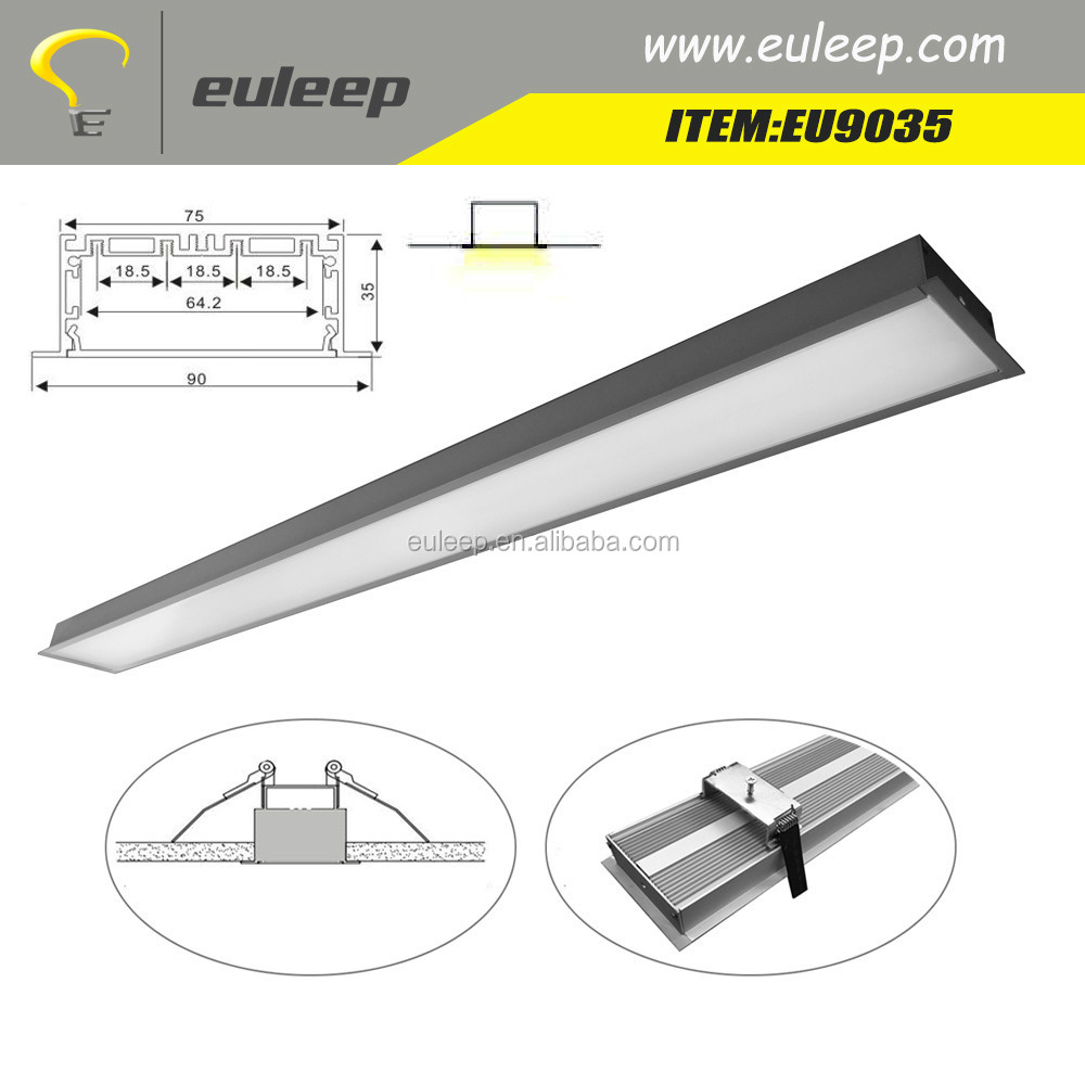 EU9035 1.2m 1.5m 1.8m 2m 2.4m linkable recessed led linear light,led tube lighting shenzhen factory