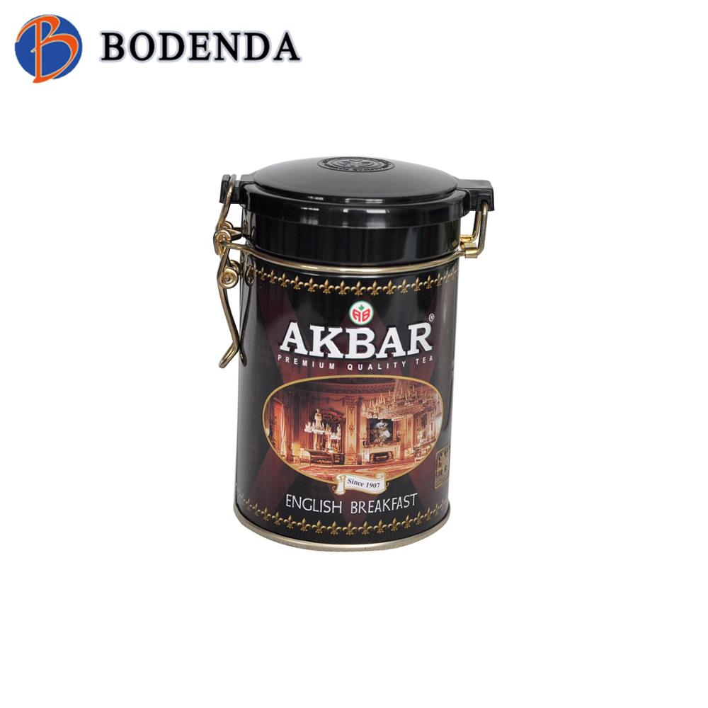 Factory directly black round tin box for coffee