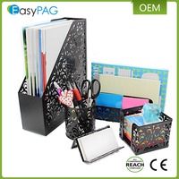Office / school embossing letter tray mesh file rack fancy metal pen holder stationery set desk organizer