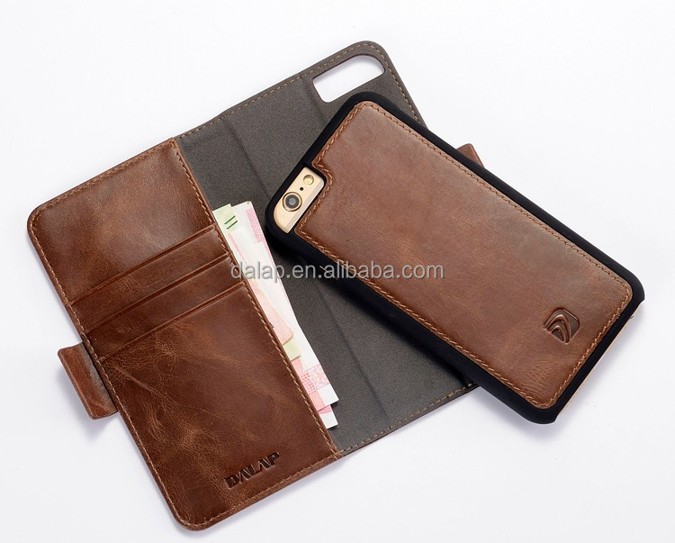 custom handcrafted case for iphone 6, detachable leather phone case with magnitic