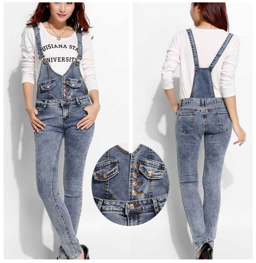 Women jeans overalls plus size 2015 New Fashion Brand Cotton elastic Hot jeans Ladies Casual Skinny denim overalls Pencil pants
