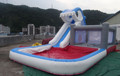 2014 hot sell children inflatable pool with slide /inflatable water slip slide