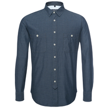 denim solid long sleeve men cotton shirt