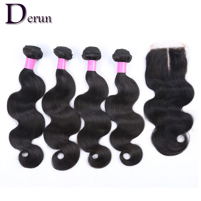 4 Bundles Brazilian Virgin Hair With Closure Unprocessed Human Hair Extensions Lace Closure With Hair BundlesBrazilian Body Wave