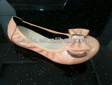 lady flats color beige PU shoes with nice quality 2013 CH6002